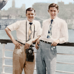 Denton Hopkinson and Raymond Leach on a ship in 1954