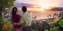 A husband and wife enjoy an ocean view in the future Paradise