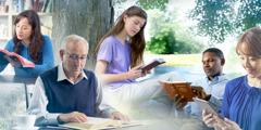 Тӗрлӗ ҫулхи тата тӗрлӗ халӑхран тухнӑ ҫынсем Библи вулаҫҫӗ