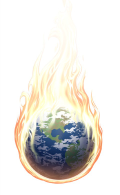The earth surrounded by flames