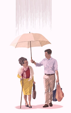 A man shares his umbrella with an elderly woman