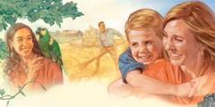 Odrasli in otroci se veselijo življenja v raju.