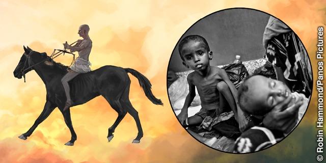 O cavaleiro no cavalo preto representa a fome