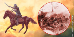 The rider on the fiery-colored horse represents warfare