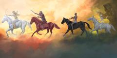 黙示録の四騎士たちと,そのすぐ後に従う「墓」