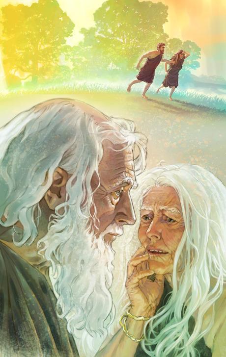 Adán y Eva de viejos