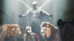Un ángel protege a Daniel de los leones