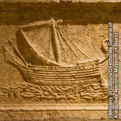 A relief carving of a large cargo ship