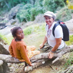 Ute and a little girl in Madagascar