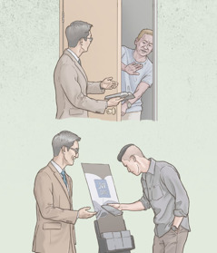ある兄弟が家から家の奉仕で否定的な反応を示される。しかし後に,公の証言の際に関心のある人に会う