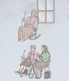 Māsa, kas lieto skābekļa aparātu, sēž viena pati, bet vēlāk apmeklē sapulci, kur viņai blakus sēž gados jaunāka māsa
