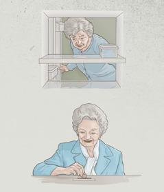 年配の姉妹がほとんど空になった冷蔵庫をのぞいている。しかし後に,王国の業のために寄付をしている