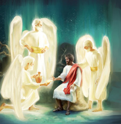 Angels appear to Jesus and strengthen him