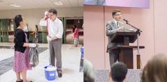 شيخ يلقي خطابا على الحضور، ويشترك لاحقا في تنظيف مكان العبادة