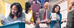 اخت تقترب من احد الشيوخ ومعها الوكالة الدائمة للعناية الصحية، يراجعان المعلومات معا، ثم تملأ البطاقة هي بنفسها