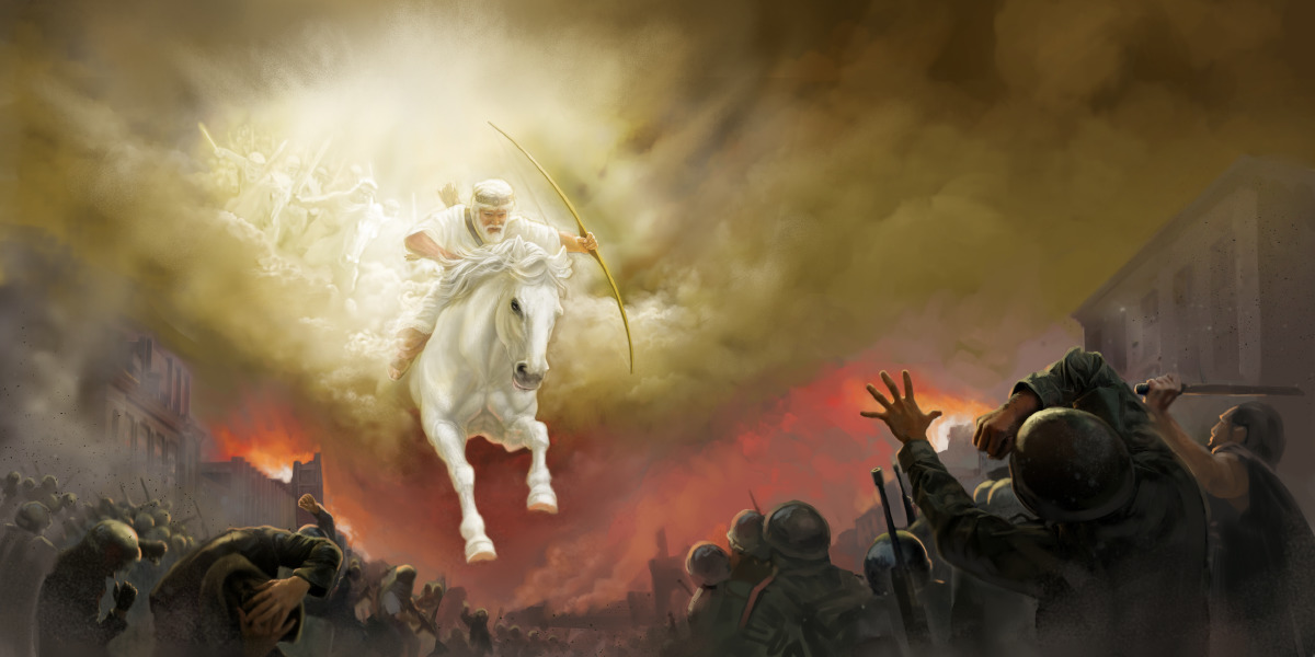 Jesus rides a white horse and the armies in heaven follow him