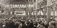 The crowded auditorium at the convention in Cedar Point, Ohio, 1922