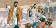 Jesus throws out merchants buying and selling in the temple