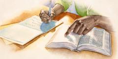 اخ يكتب آية من الكتاب المقدس في بطاقة تعزية