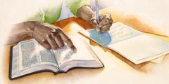Хӗрарӑм Библири сӑмахсемпе лӑплантарас шутпа открытка ҫырать
