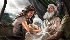 Abraham met Isaäk, Rebekka en zijn kleinzoons, Esau en Jakob