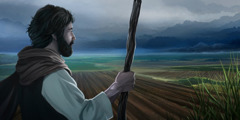 A farmer in Bible times looks over the fields