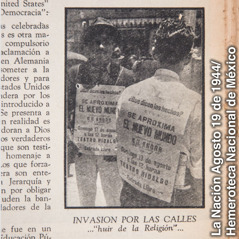 A 1944 magazine clipping showing a sandwich-sign parade in Mexico City
