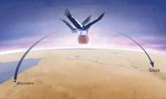 """Dvě ženy se silnými křídly podobnými čapím zvedají nádobu s """"Ničemností"""" uvnitř a letí s ní do země Šinar"""
