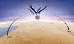 """שתי נשים שעפות עם כנפיים חזקות ככנפי חסידה נושאות את המכל המכיל את """"הרשעה"""" ומעבירות אותו ל""""ארץ שנער"""""""