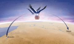 """Dos mujeres con alas fuertes como las de una cigüeña levantan el recipiente donde está la """"Iniquidad"""" y se lo llevan a Sinar"""