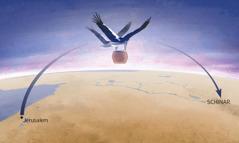 """Zwei Frauen mit kräftigen Storchenflügeln heben das Gefäß mit der """"Bosheit"""" hoch und bringen es nach Schinar"""