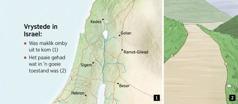 'n Kaart met die ses vrystede in Israel en 'n pad wat goed in stand gehou is