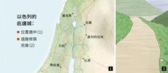 顯示以色列的六座庇護城的地圖,另一個是修築完善的路