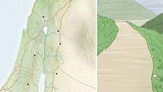 Um mapa mostrando as seis cidades de refúgio. Ao lado, desenho de uma estrada em bom estado