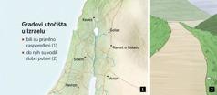 Geografska karta na kojoj se vide šest gradova utočišta u Izraelu i prikaz jednog dobro održavanog puta