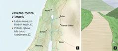 Zemljevid, na katerem je prikazanih šest zavetnih mest v Izraelu, in dobro vzdrževana pot.