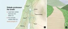 Mapa ne'ebé hatudu sidade protesaun neen iha Izraél no dalan ne'ebé di'ak