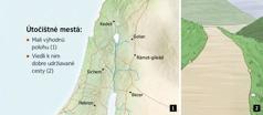 Mapa, na ktorej je vyznačených šesť útočištných miest v Izraeli, a obrázok dobre udržiavanej cesty