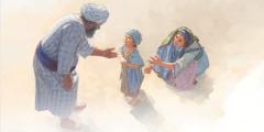 حنا سموئیل را که هنوز کودک است به خیمهٔ عبادت برده است