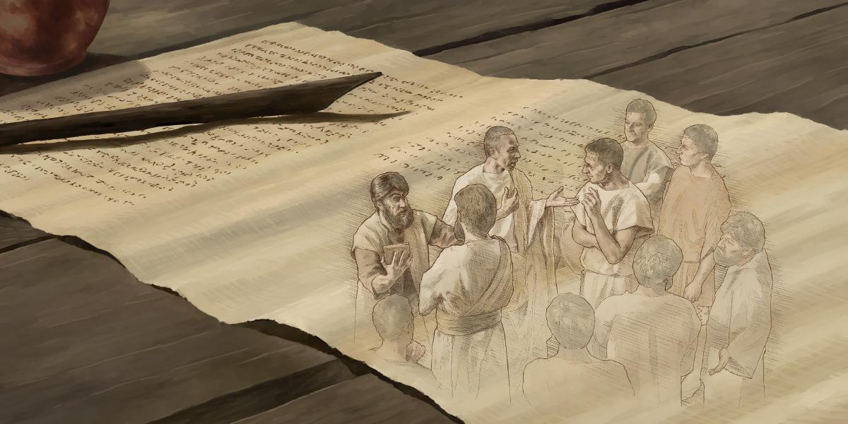 Brüder aus der Versammlung in Kolossä unterhalten sich über den Brief, den Paulus ihnen geschrieben hat