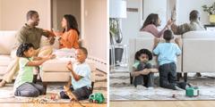 בעל ואישה מתווכחים והילדים מוטרדים; כל בני המשפחה שמחים כאשר הם נוהגים זה בזה בטוב לב