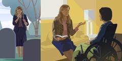 Babai nga agsangsangit iti sementerio; naka-wheelchair a babai a dumdumngeg iti mensahe ti Biblia
