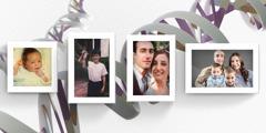 ある男性の成長の記録。赤ちゃんの時,少年時代,結婚式,妻と子どもたちとの写真。
