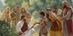 Jesus heals a boy, and the boy's parents and onlookers are overjoyed