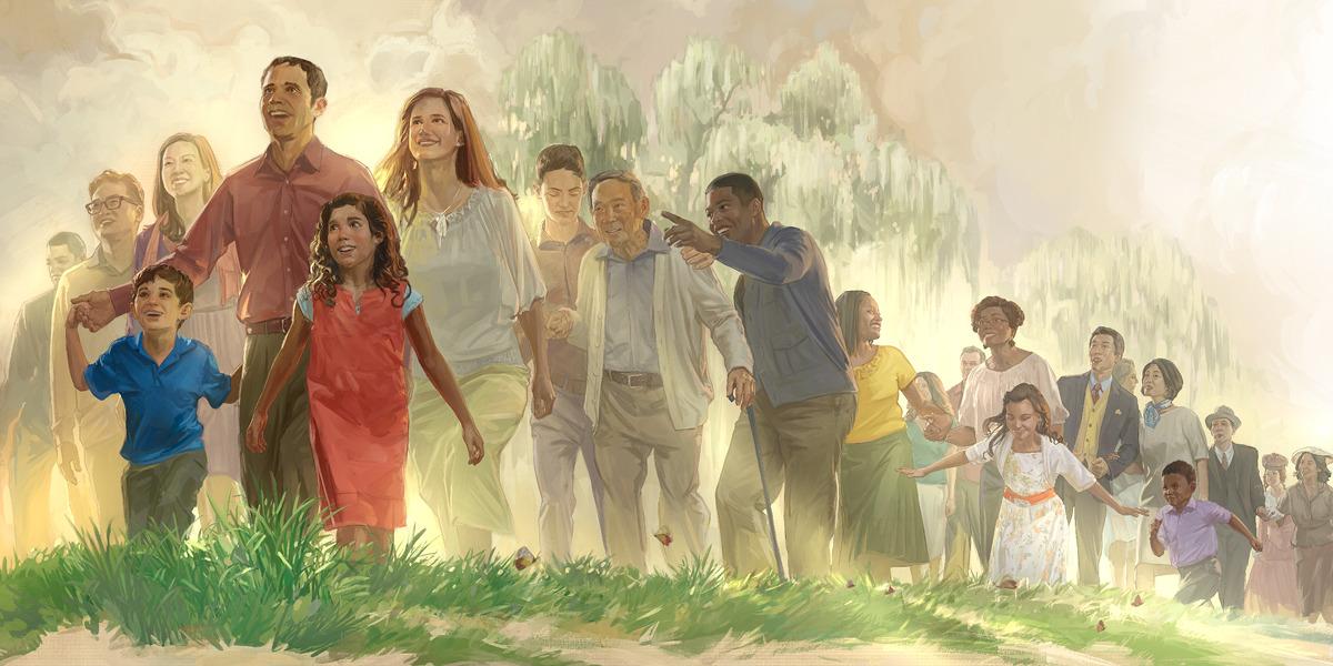 Personas de diferentes edades y razas caminando hacia el nuevo mundo