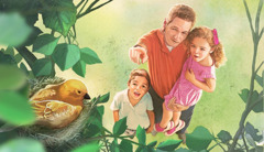 A father shows his children a bird's nest and teaches them about Jehovah's qualities