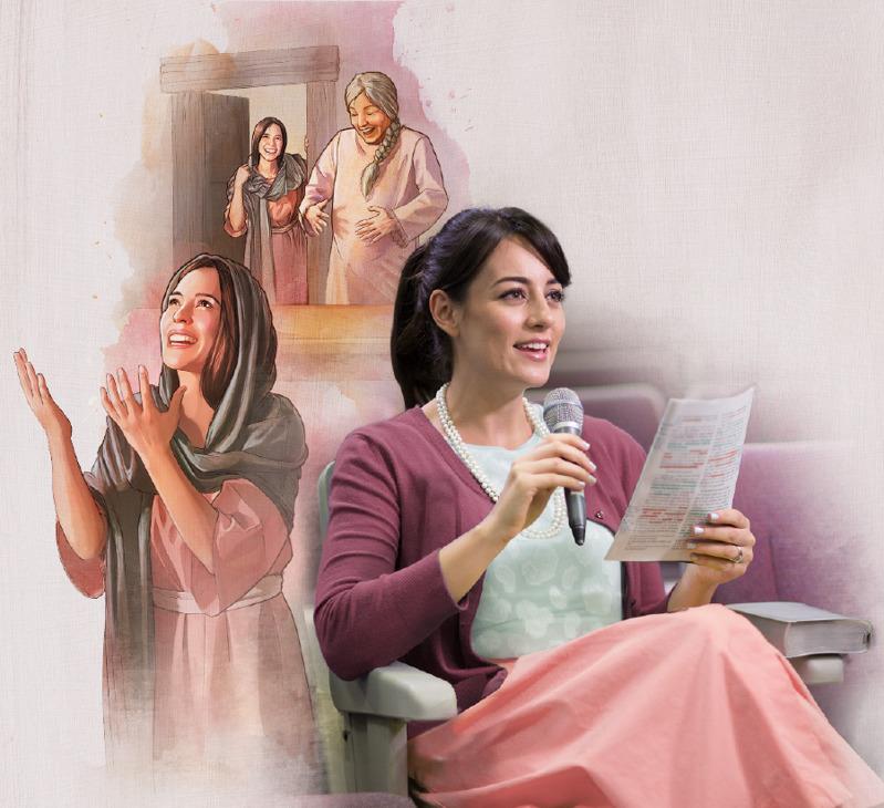 Una hermana en una reunión hace un comentario sobre el ejemplo de María
