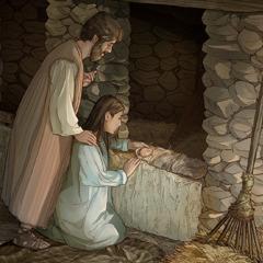 يوسف ومريم قرب المذود حيث ينام الطفل يسوع