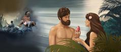 חוה נותנת לאדם את הפרי; ההשלכות ההרסניות של אי־ציותם