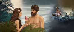Eve gives Adam the fruit; the disastrous consequences of their disobedience